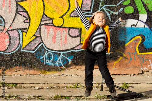 Little boy jumping for joy