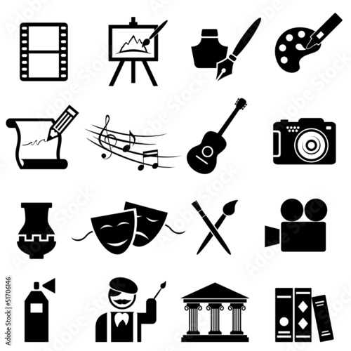 Fine arts icon set