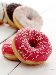Fresh tasty donuts with glaze