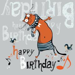 happy birthday funny card cat