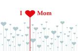 """I love Mom"" Karte mit Herzen"