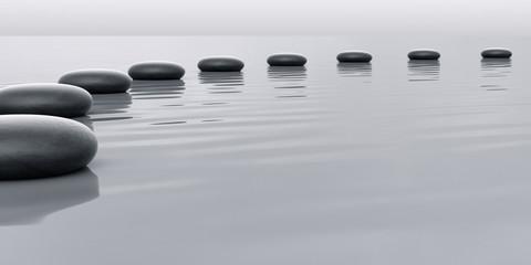 Row of stones leading to the horizont