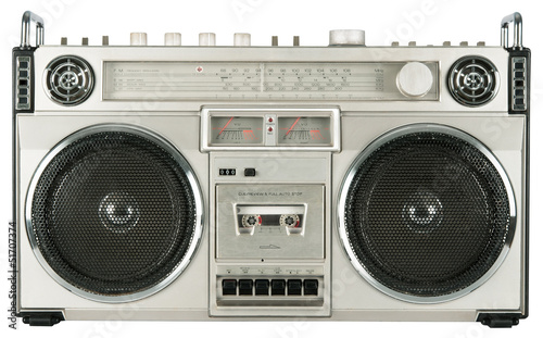 Vintage radio cassette recorder isolated on white
