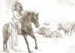Indian Chief riding a horse, watching buffalo herd