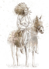 Indian chief sitting on a horse