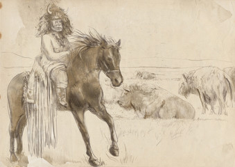 Indian Chief riding a horse, watching buffalo herd