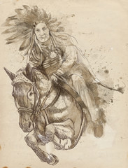 Indian Chief riding a horse and jumping over a hurdle