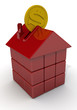 Копилка в форме дома из кубиков
