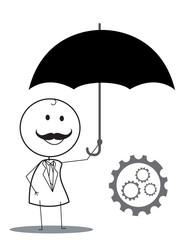 Businessman Umbrella Gear Progress