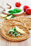 Traditional Turkish pizza (lahmacun) with meat, selective focus