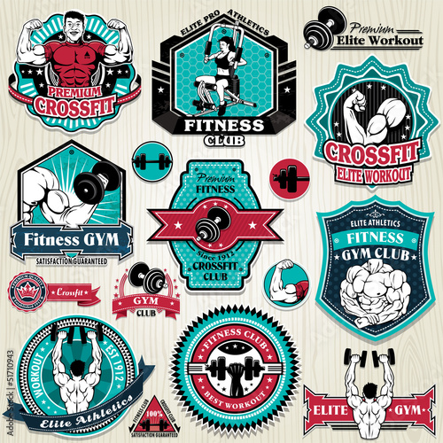 Vintage Gym muscles label set template