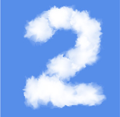 Number two with clouds written numeral.