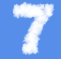 Number seven with clouds written numeral.