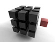 Black 3d cube with mini red cube | Concept