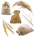 Hessian sacks with herbs isolated