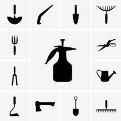 Set of garden tools icons