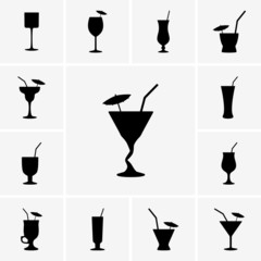 Set of cocktails icons