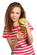 Girl with apple juice