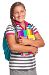 Girl with exercise books