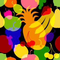 Seamless pattern of fruit silhouette