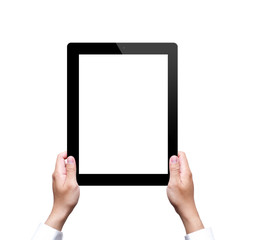 male hand holding a tablet with isolated