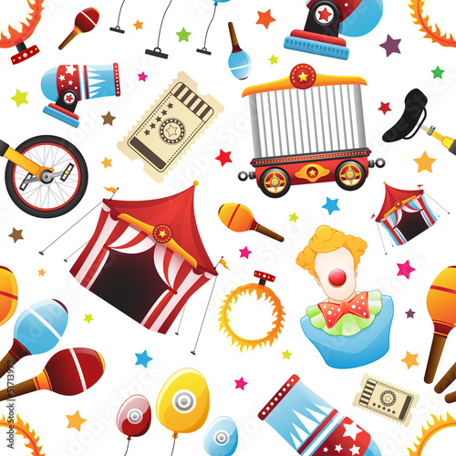 Seamless Circus Icon Pattern
