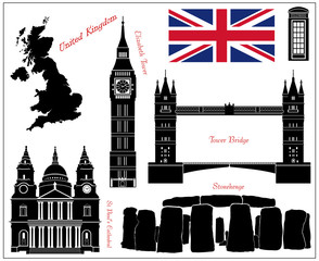 United Kingdom 7 piece isolated vectors