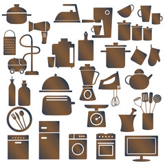 Various household appliances and kitchen utensils