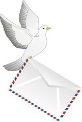 Почтовый голубь с письмом
