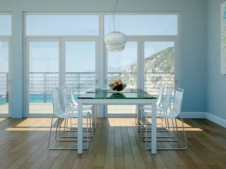 modernes Esszimmer in Strandhaus