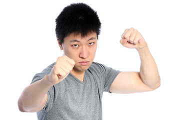 Asian man fighting