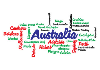 WEB ART DESIGN TAG CLOUD AUSTRALIA KANGAROO PLATYPUS 400