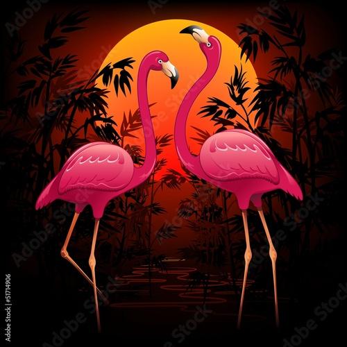 rozowi-flamingi-na-tropikalnym-zmierzchu-rozowi-flamingi-w-zmierzchu