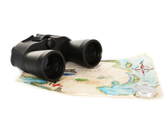 Black modern binoculars with map of adventure isolated on white