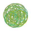 abstract round glossy torus shape in mixed green on white