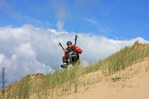 paraglider on sand dunes