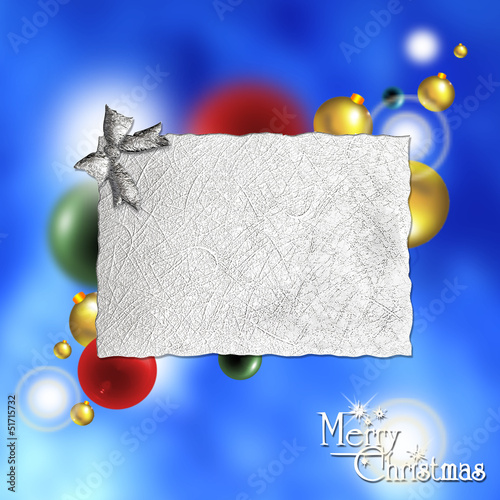 Merry Christmas vector background with label and balls.