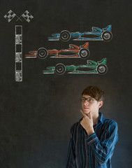 Business man, student or teacher Formula 1 racing car fan