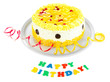Happy birthday cake, isolated on white