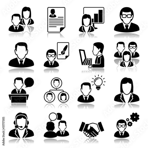 business people Icons with reflection