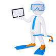 3d man in flippers holding tablet