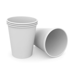 Group of white paper cups
