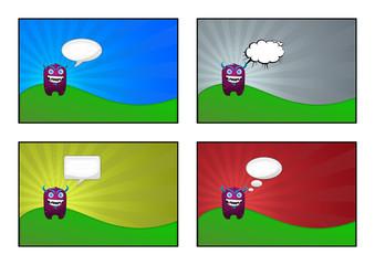 Illustrazione di un simpatico mostro che parla, 4 elementi