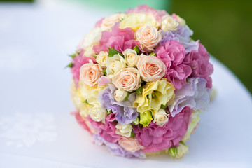 wedding bouquet of fresh pink roses bridal flowers