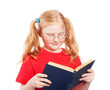 little girl with book wearing glasses isolated on white
