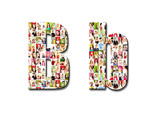lot of people portraits - letter B large size poster