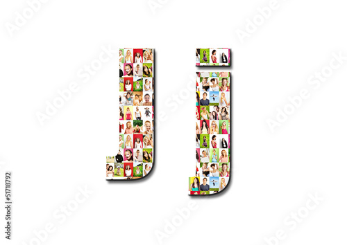 lot of people portraits - letter J large size