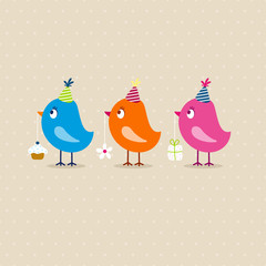 3 Birds Birthday Beige Dots