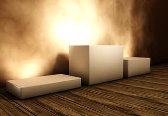 Drei Podeste für Präsentation von Objekten