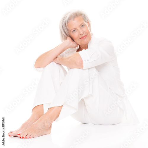 Sitting senior woman